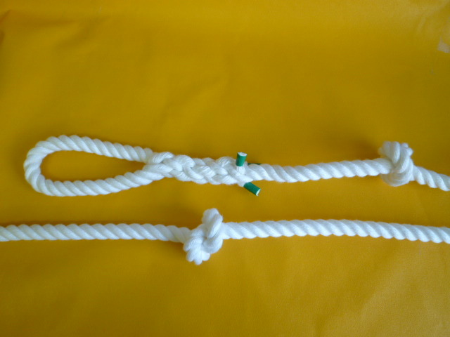 簡易避難(作業補助)ロープ (結び目あり) 片端アイ(輪っか)加工