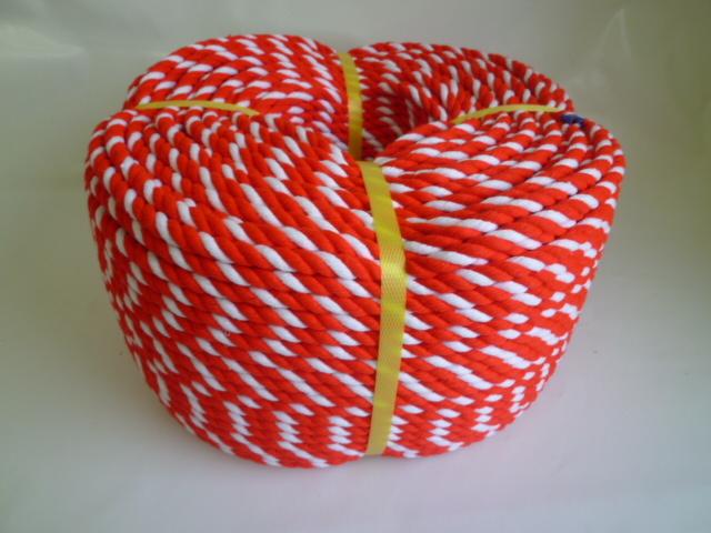紅白ロープ アクリル赤/白 直径6mm 300m巻