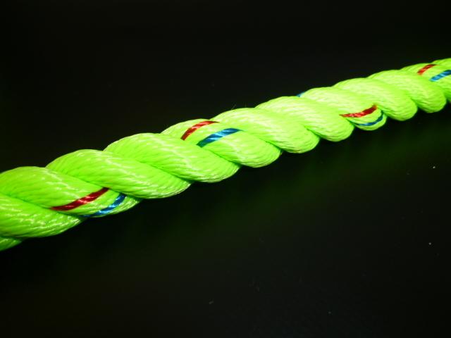 ポリエステル蛍光ライムグリーンロープ 直径16mm(切り売り品)メートル単位 最大100メートル