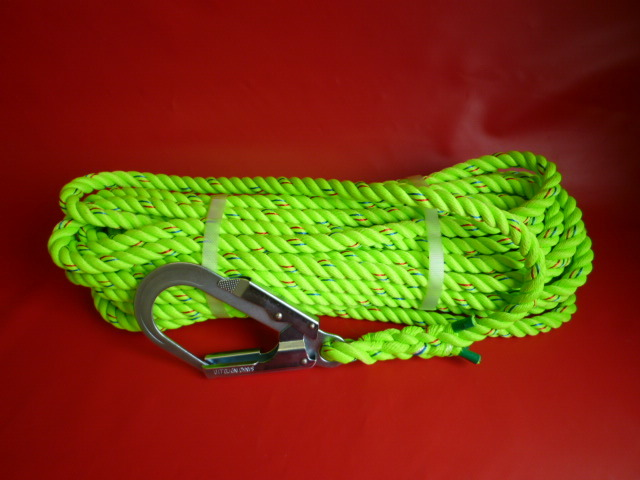 親綱ロープ 介錯ロープ 蛍光ライムグリーンロープ16mm 片端大径フック