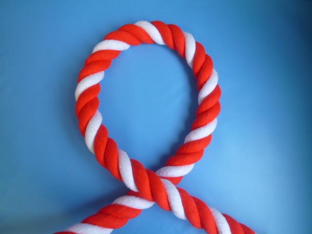 紅白ロープ アクリル赤/白 直径16mm(切り売り)メートル単位 最大100M
