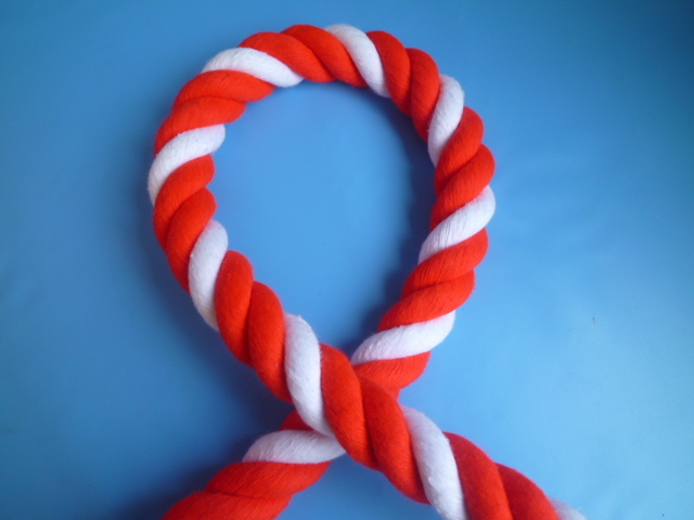 紅白ロープ アクリル赤/白 直径24mm(切り売り)メートル単位 最大100M
