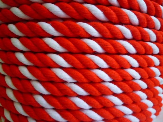 紅白ロープ アクリル赤/白 直径12mm(切り売り)メートル単位 最大100M
