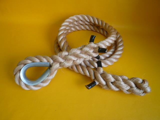 登り綱 ターザンロープ 麻ロープ直径24mm 片端コース入りアイ加工 片端逆サツマ加工