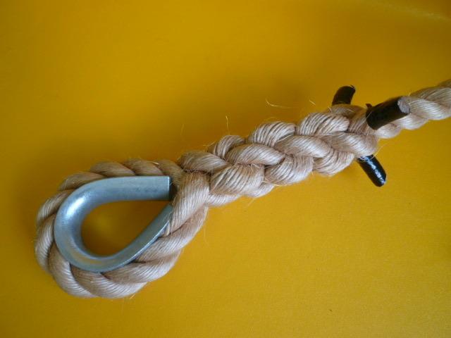 特注品 麻ロープ36mm×15m仕上り 片キツネコース入りアイ加工 片ビニールテープ止め