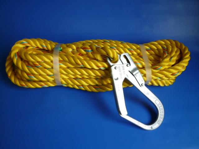 親綱ロープ 介錯ロープ ニューテトロンロープ黄色16mm 片端大径フック