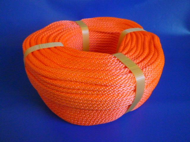 蛍光オレンジ PPマルチ12打ちコードロープ 直径6mm(100メートル巻き)