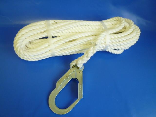 親綱ロープ 介錯ロープ ビニロンSロープ16mm 片端大径フック