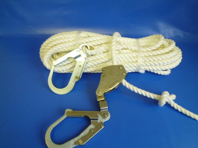 親綱ロープ ビニロンSロープ16mm 片端大径フック 片端緊張器付大径フック