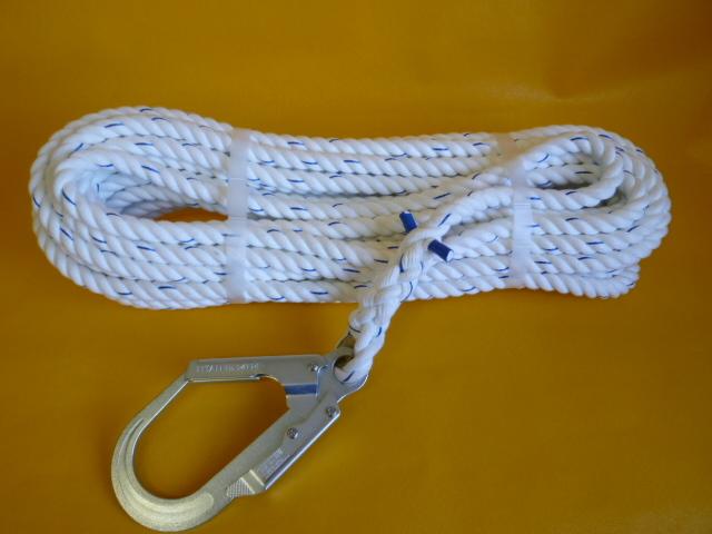 親綱ロープ 介錯ロープ ポリエステルスパンロープ16mm 片端大径フック