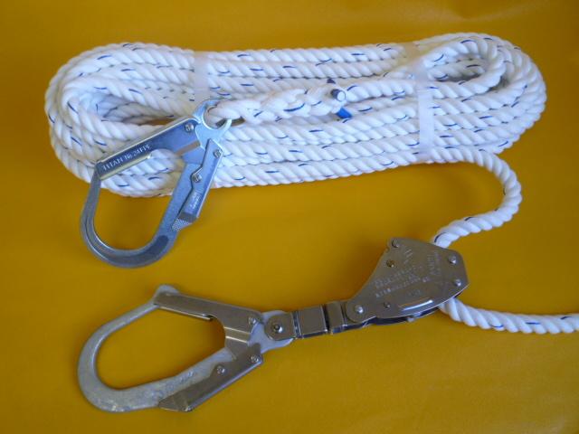 親綱ロープ ポリエステルスパンロープ16mm 片端大径フック 片端緊張器付大径フック