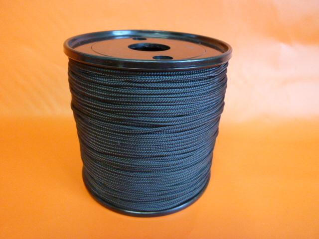 ポリエステルマルチフィラメント12打ちロープ 直径2mm(200m巻) 黒色