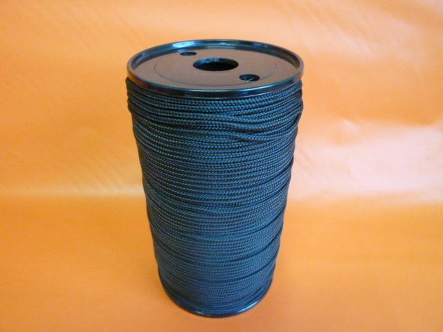 ポリエステルマルチフィラメント12打ちロープ 直径3mm(200m巻) 黒色