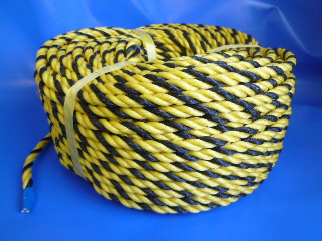 標識(トラ)ロープ 国産品 黄/黒 #12 (200メートル巻き)
