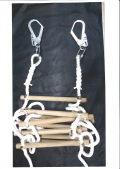縄梯子(作業用)全長約3.5mタイプ 特注品 端末種類シンプル入り+カラビナ+大径フック型 麻ロープ 樫棒30cm 約30cmピッチ 11本
