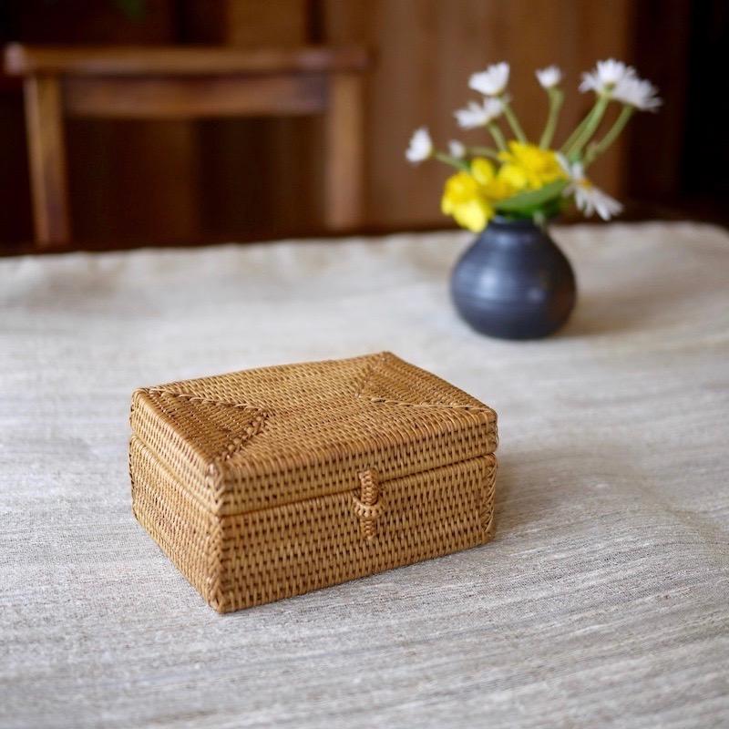 長方形蓋付  ハイクオリティ (BOX361)  Rosily(ロージリー) バリ島 アタかご雑貨