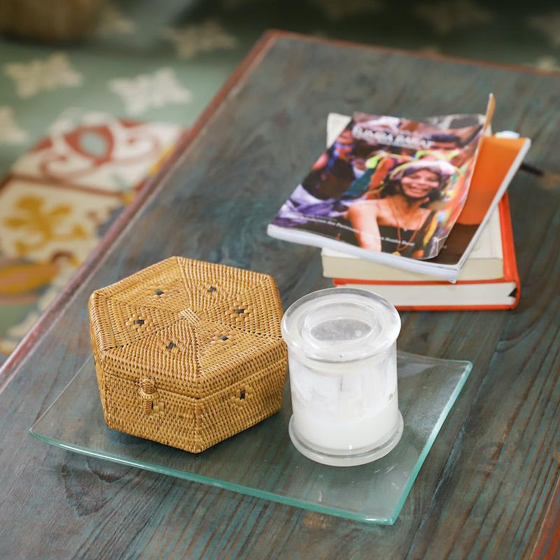 六角蓋付きSサイズ (BOX407)  Rosily(ロージリー) バリ島 アタかご雑貨 キッチン収納