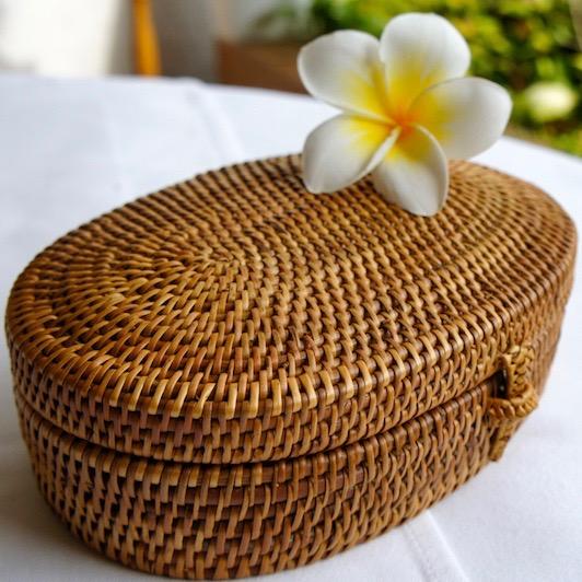 オーバル蓋付きMサイズ (BOX411)  Rosily(ロージリー) バリ島 アタかご雑貨