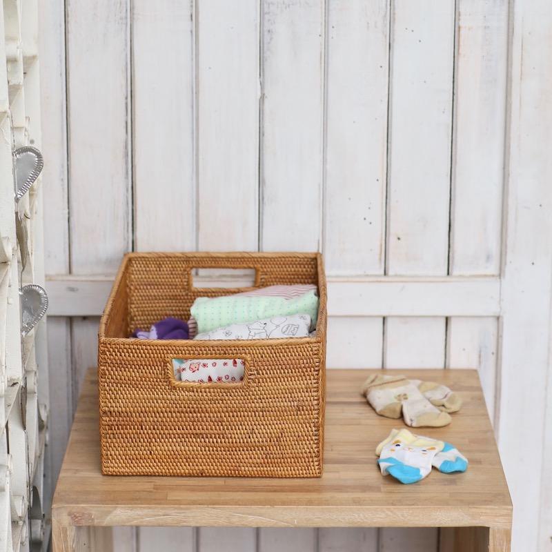 長方形小物入れ穴空き (BOX414)  Rosily(ロージリー) バリ島 アタかご雑貨