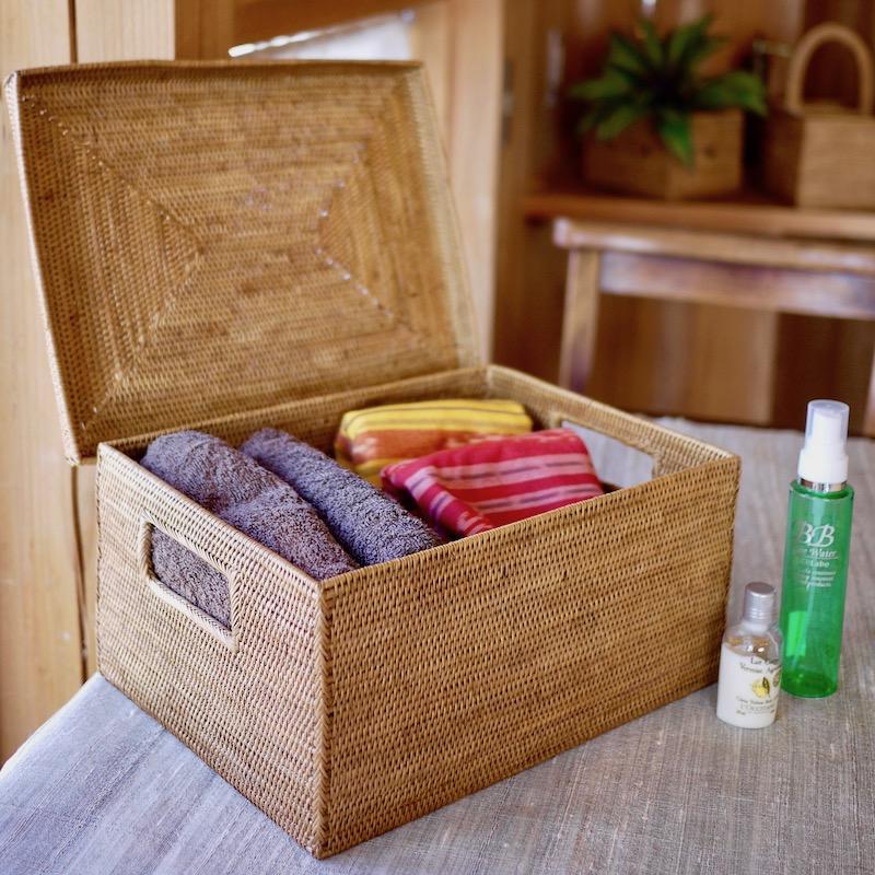 蓋付き靴箱型 (BOX415)  Rosily(ロージリー) バリ島 アタかご雑貨