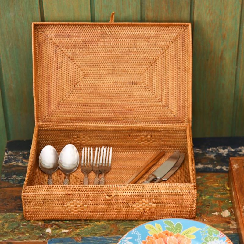 書類入れ蓋付きMサイズ (BOX416)  Rosily(ロージリー) バリ島 アタかご雑貨 蓋付きバスケット