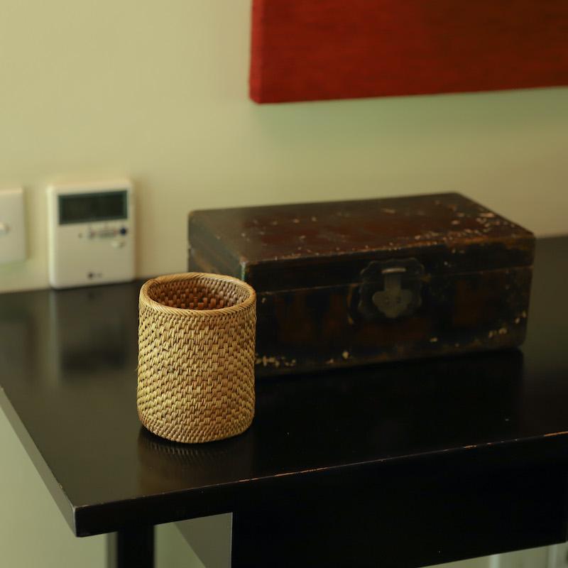 円柱ペン立てLサイズ (BOX422)  Rosily(ロージリー) バリ島 アタかご雑貨