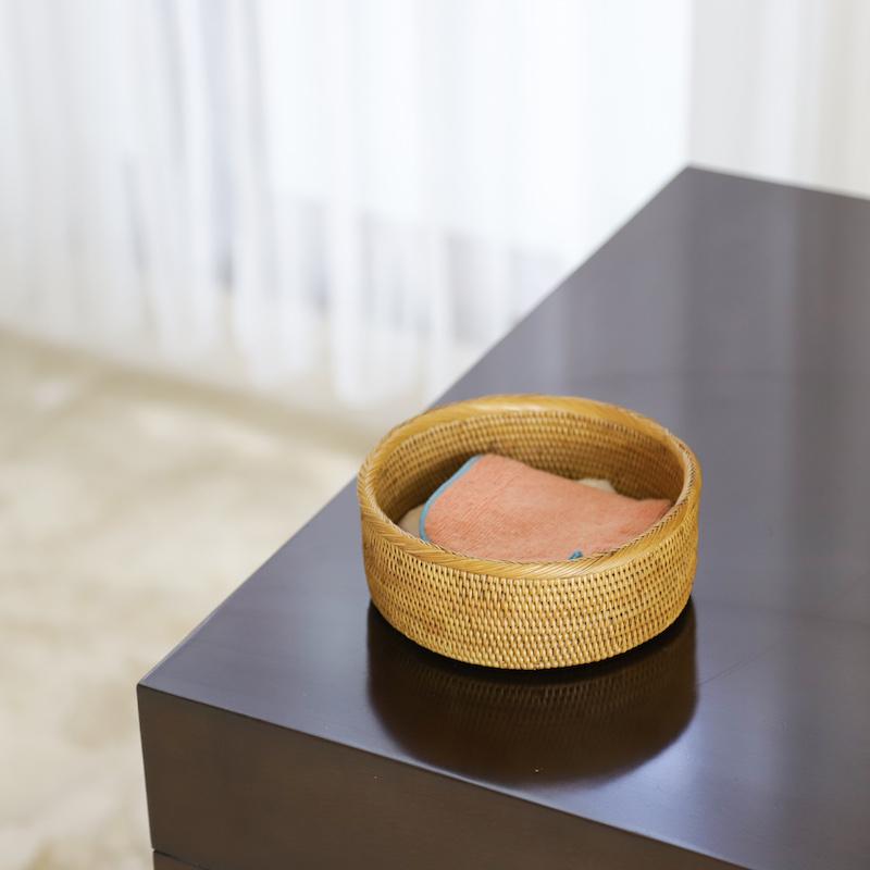 円形蓋無しSサイズ (BOX424)  Rosily(ロージリー) バリ島 アタかご雑貨 リビング収納