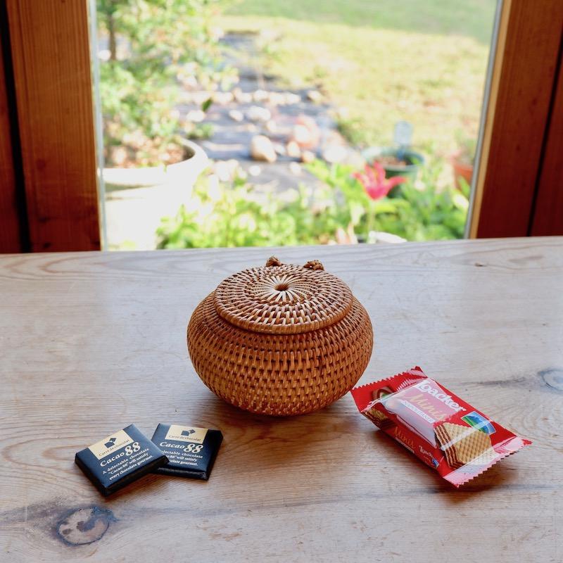 ボール蓋付き扁平型SSサイズ (BOX427FT)  Rosily(ロージリー) バリ島 アタかご雑貨