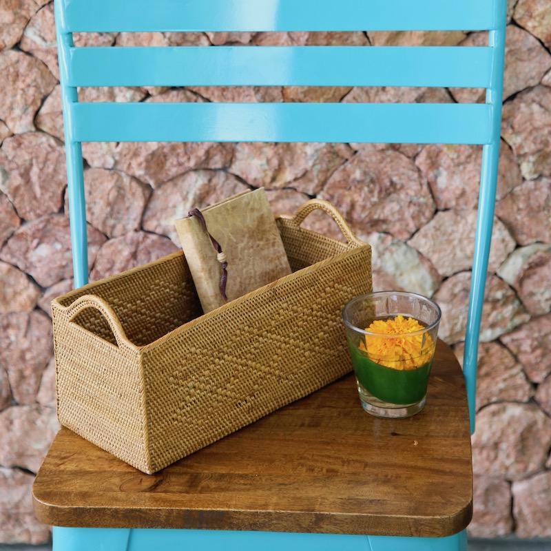 CDボックス取手付きロング (BOX378)  Rosily(ロージリー) バリ島 アタかご雑貨 収納バスケット