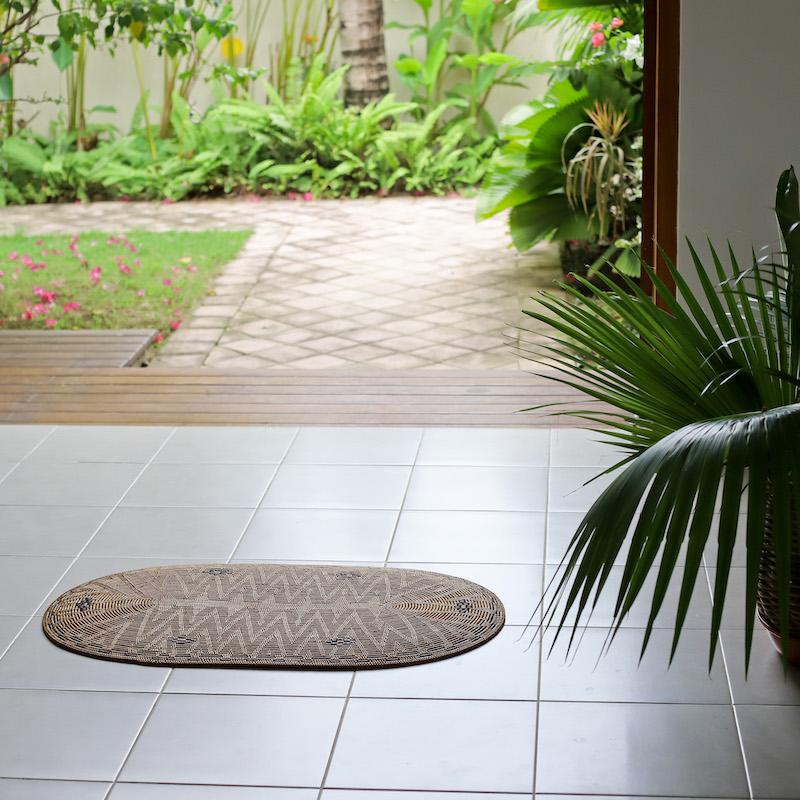 リビングマット楕円形Mサイズ (MAT175) Rosily(ロージリー) バリ島 アタかご雑貨 ランチョンマット 玄関マット