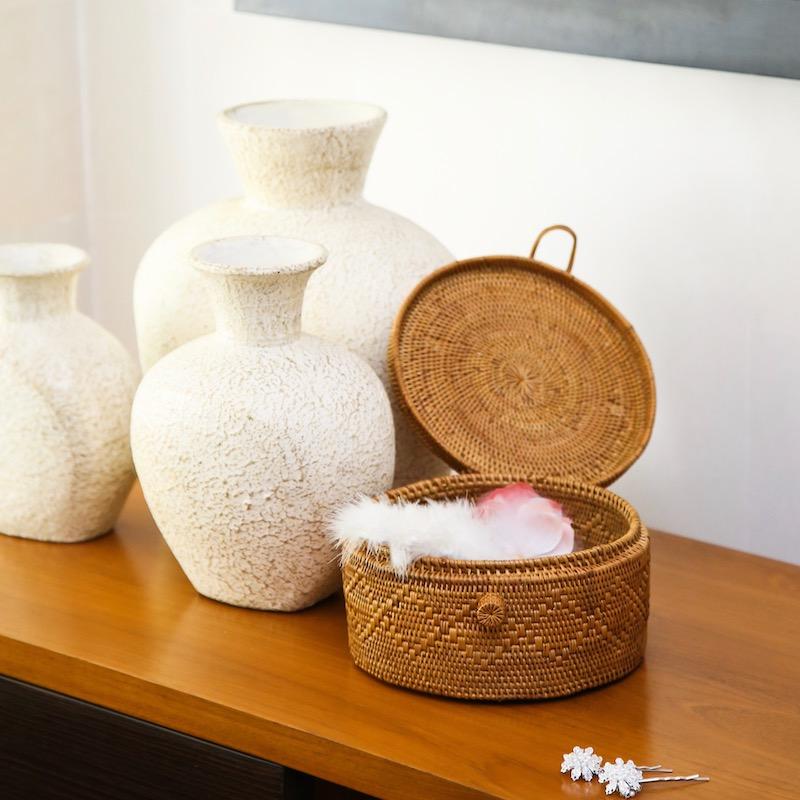 円柱蓋付1段Mサイズ (NAB504)  Rosily(ロージリー) バリ島 アタバスケット コスメボックス 茶籠  裁縫箱