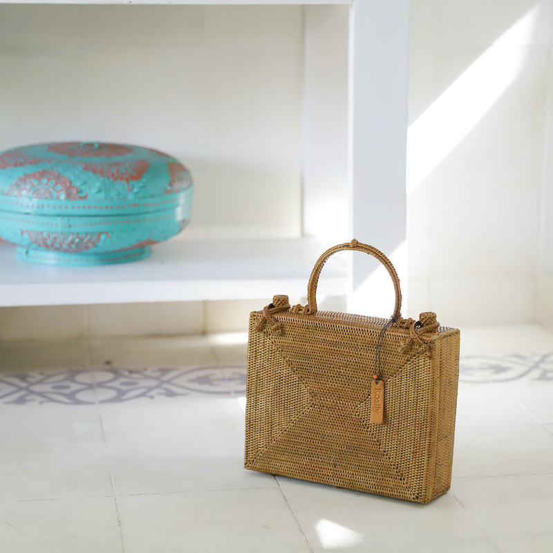 ブリーフケーススクエア (NAB660)  Rosily(ロージリー) バリ島 アタかごバッグ 浴衣や着物にも