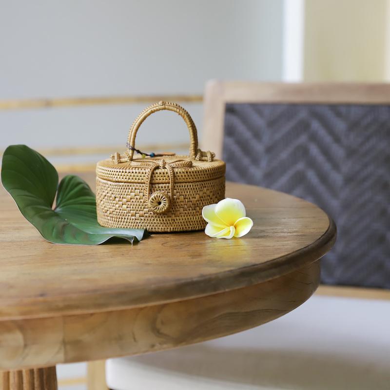 円柱蓋付1段Sサイズ (PNC139)  Rosily(ロージリー) バリ島 アタバスケット コスメボックス 茶籠  裁縫箱