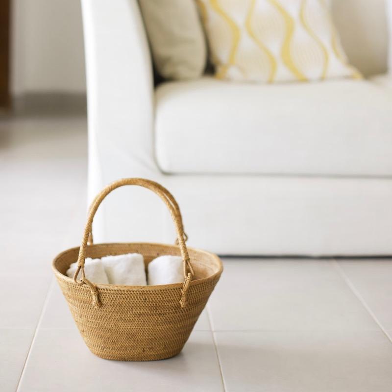 レトロ買物籠 Sサイズ (PNC145)  Rosily(ロージリー) バリ島 アタバスケット キッチン 収納バスケット