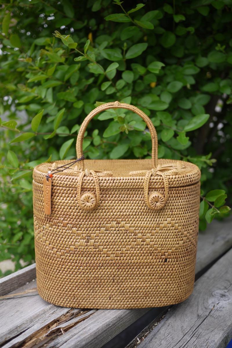 楕円コスメボッックス(PNC163)  Rosily(ロージリー) バリ島 アタバスケット コスメ 茶籠 裁縫箱