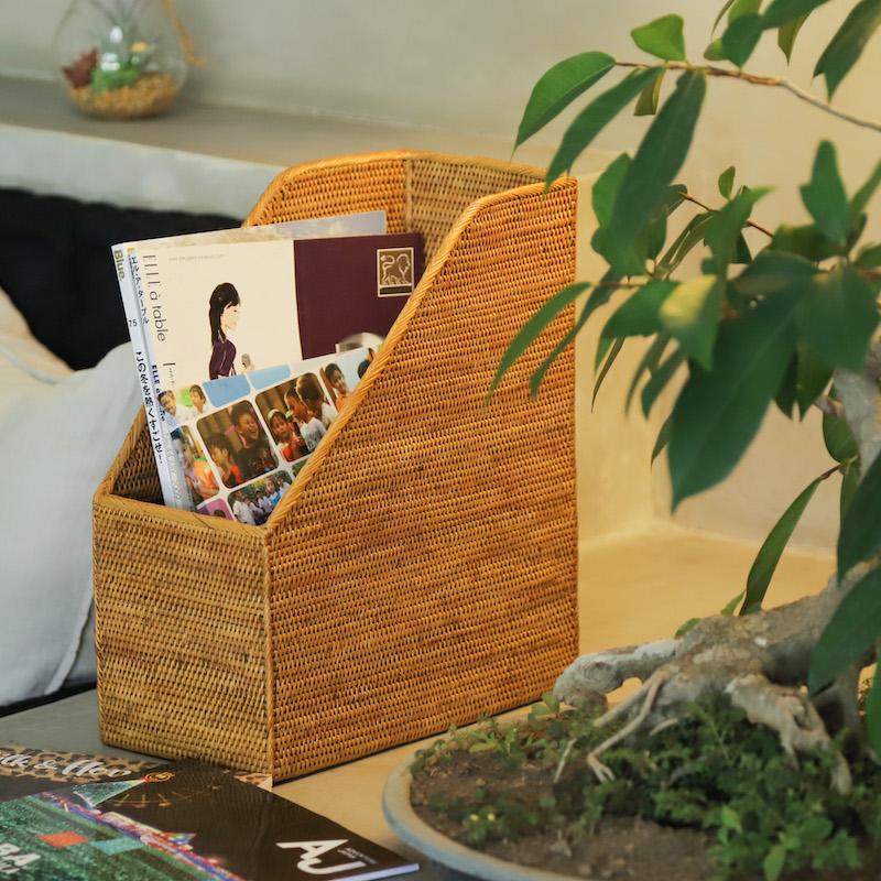 書類立て1枠 (RCB262)  Rosily(ロージリー)  バリ島 アタかご雑貨 リビング 書斎 勉強部屋 収納