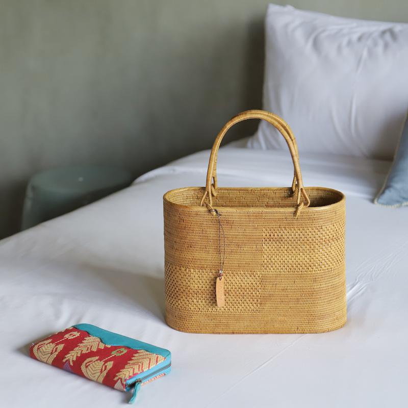 楕円SPアタ市松柄 深型Mサイズ (SAB138)  Rosily(ロージリー) バリ島 高級 極細編みアタかごバッグ 浴衣や着物にも