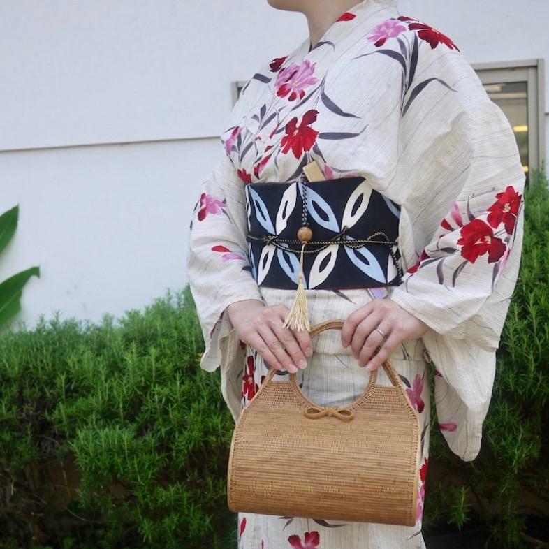 俵型スーパー Mサイズ (SAB111)  Rosily(ロージリー) バリ島 高級 極細編みアタかごバッグ 浴衣や着物にも