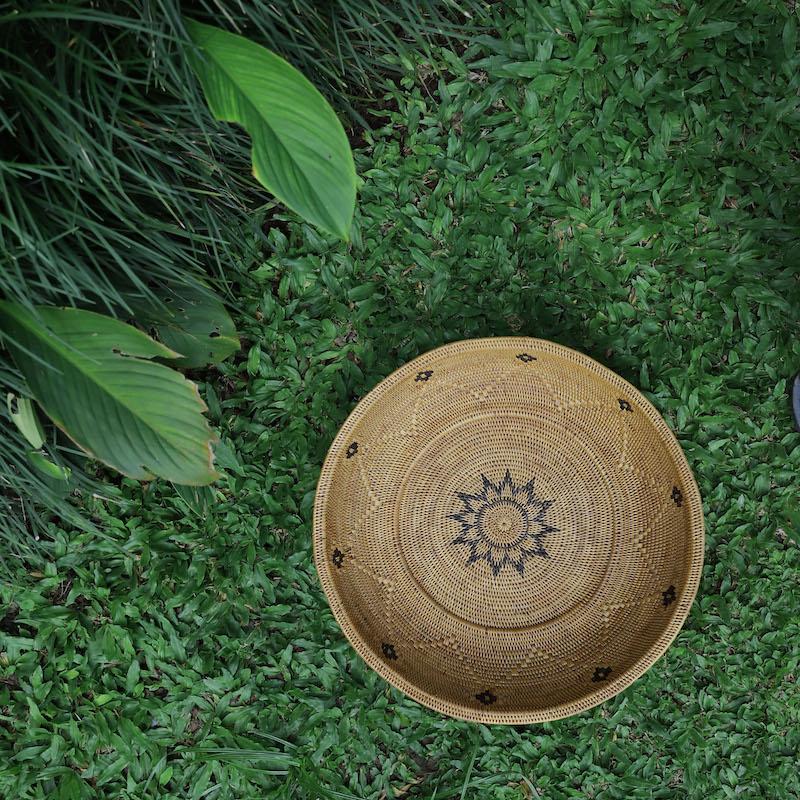 モチーフ大皿Lサイズ (TRY328)  Rosily(ロージリー) バリ島 アタかご雑貨 キッチン収納 リビング 器 トレイ テーブルウェア