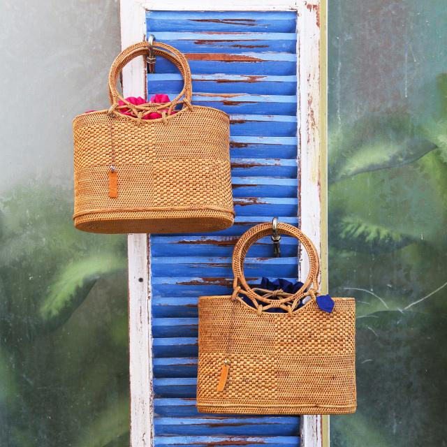 サライバッグLサイズ (NAB530)  Rosily(ロージリー) バリ島 アタかごバッグ 浴衣や着物にも