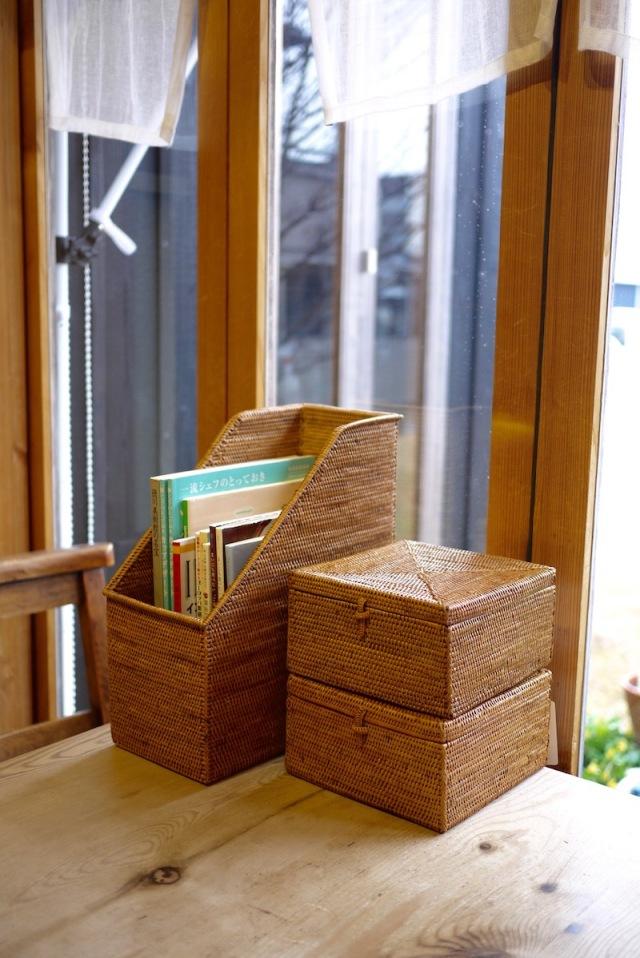 正方形蓋付 (BOX362)  Rosily(ロージリー) バリ島 アタかご雑貨