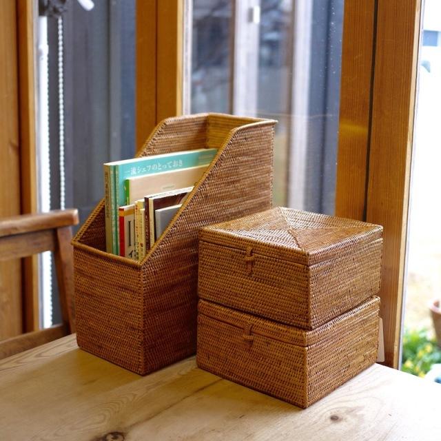 正方形蓋付 (BOX362)  Rosily(ロージリー) バリ島 アタかご雑貨 リビング収納