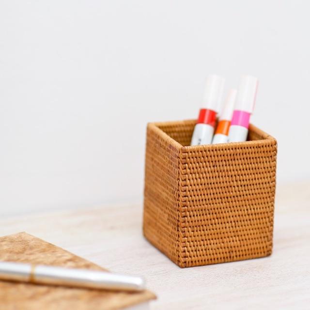 ペンたて四角(BOX364)  Rosily(ロージリー) バリ島 アタかご雑貨 リビング収納