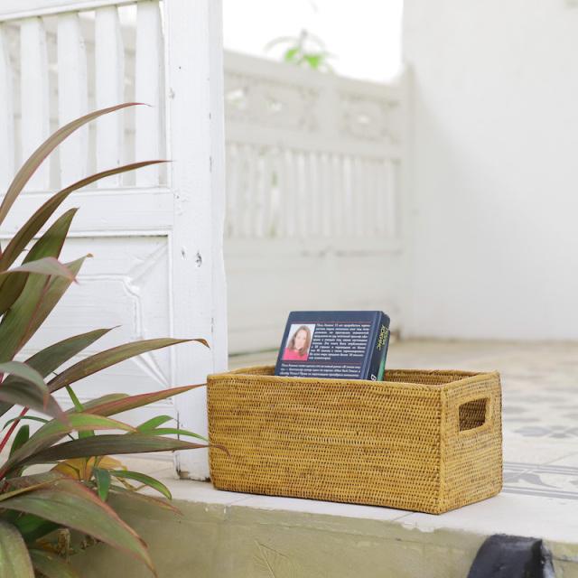 CDボックス穴開きロング (BOX380) Rosily(ロージリー) バリ島 アタかご雑貨 収納バスケット リビング収納