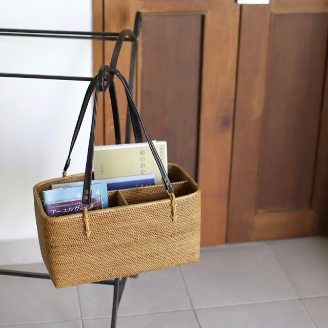 革持手リビングバッグ (BOX383)  Rosily(ロージリー) バリ島 アタかご雑貨 収納バスケット