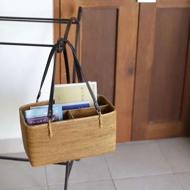革持手リビングバッグ (BOX383)  Rosily(ロージリー) バリ島 アタかご雑貨