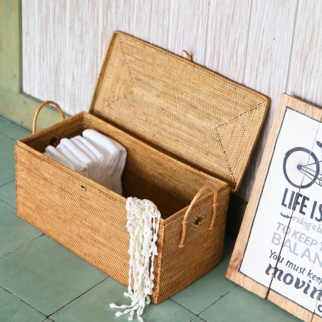 つづら箱持手付き (BOX384)  Rosily(ロージリー) バリ島 アタかご雑貨 収納バスケット