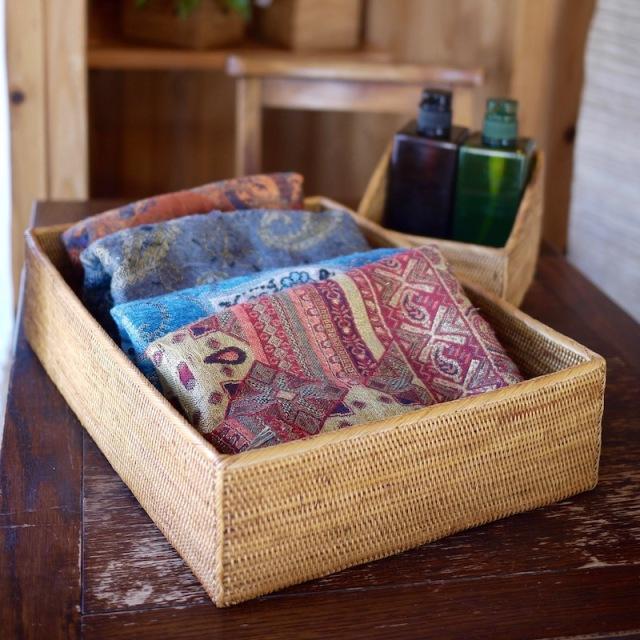 収納箱四角 浅型L (BOX452)  Rosily(ロージリー) バリ島 アタかご雑貨 収納バスケット リビング