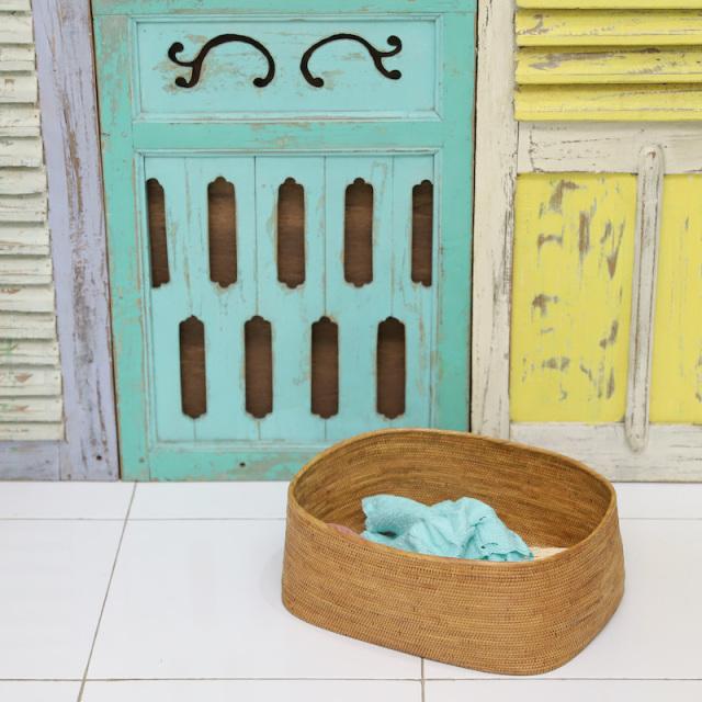 収納箱楕円深型 Lサイズ  (BOX393)  Rosily(ロージリー) バリ島 アタかご雑貨 収納バスケット