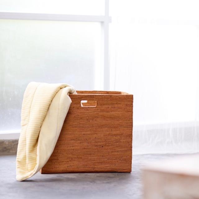 リビングボックス穴開きLサイズ(BOX397)  Rosily(ロージリー) バリ島 アタかご雑貨 収納バスケット